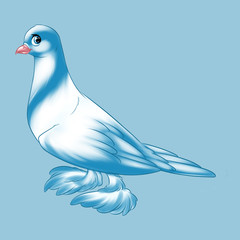 Purebred dove blue bird cartoon  illustration animal character