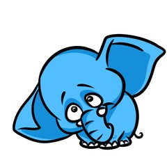 Sad little elephant cartoon illustration isolated image animal character