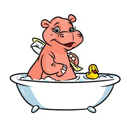 Hippo cartoon illustration isolated image animal character