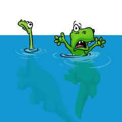 Dinosaur extinction version flood   cartoon illustration animal character