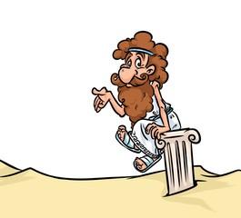 Ancient Greek philosopher cartoon illustration  character