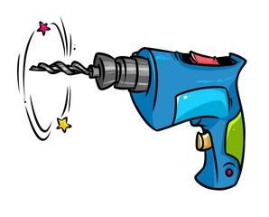 Drill construction tools cartoon illustration isolated image
