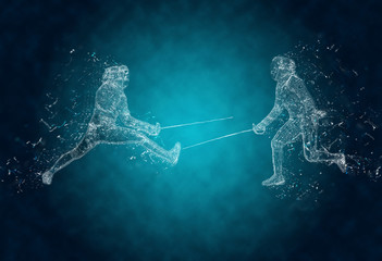 Abstract sabre fencers in action. Crystal ice effect
