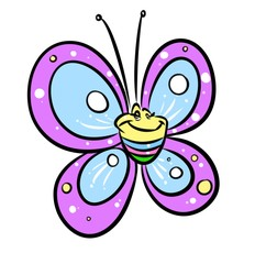 Butterfly purple funny cartoon illustration  isolated image animal character