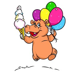 Hippo joy running balloons ice cream  cartoon illustration