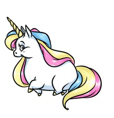 Unicorn rainbow cartoon illustration isolated image animal character