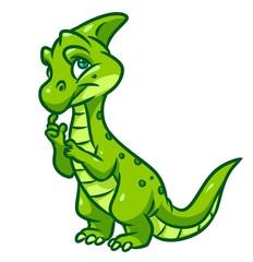 Dinosaur green thinking cartoon illustration isolated image animal character