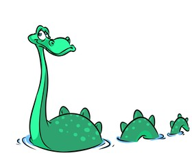 Loch Ness monster cartoon illustration isolated image animal character
