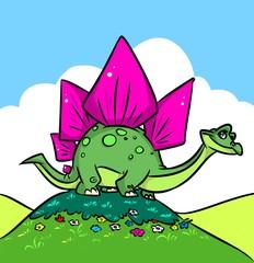 Dinosaur Stegosaurus nature  cartoon illustration animal character