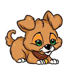 Little puppy cartoon illustration isolated image animal character