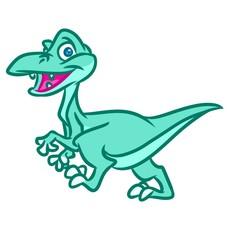 Little green dinosaur cartoon illustration isolated image animal character