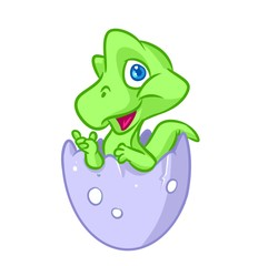 Little green dinosaur birthday hatch egg cartoon illustration isolated image animal character