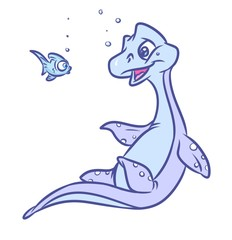Dinosaur Plesiosaur marine fish swim cartoon illustration isolated image animal character