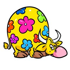 Cow cartoon fantasy flowers illustration isolated image animal character