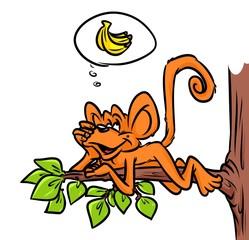 Monkey Banana tree dream cartoon illustration animal character