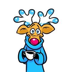 Deer cup coffee cartoon illustration isolated image animal character