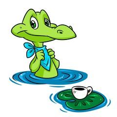 Crocodile breakfast pond cartoon illustration animal character
