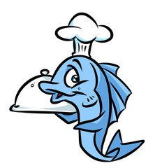 Fish chef cook cartoon illustration isolated image animal character