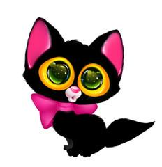 Black cat big eyes cartoon illustration isolated image animal character
