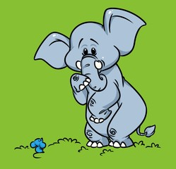 Elephant fear mouse cartoon illustration animal character