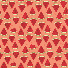 Seamless pattern vector illustration of watermelon fruit triangle slice bite in pink background.