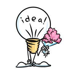 idea light bulb cartoon illustration  character