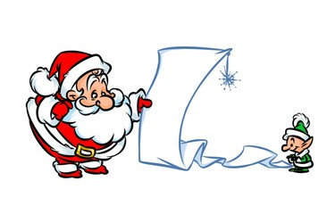 Santa Claus Christmas List cartoon illustration character