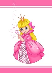 Princess Pink Dress cartoon illustration  character