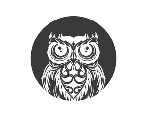 Abstract owl logo. Black owl vector .