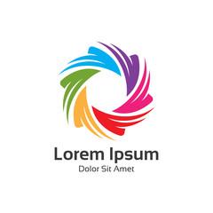 Colorful spectrum diaphragm photography symbol, hexagonal loop.