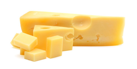 piece of cheese isolated in white background
