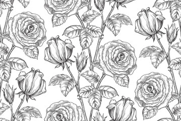 Vintage floral background. Vector ornate seamless  pattern with roses and leaves at engraving style