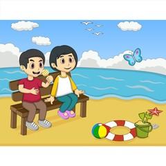 Children playing on the beach cartoon