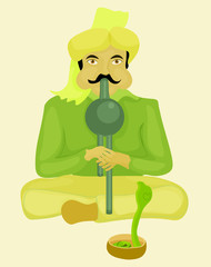 snake charmer playing a musical instrument and dancing snake vector illustration