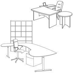 Workplace interior sketch