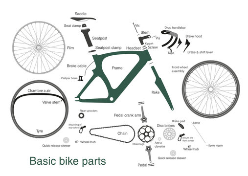 infographic of main bike parts with the names