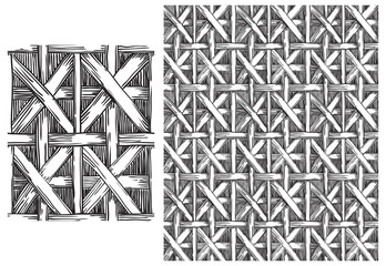Black and white  pattern of basketry. Vector seamless backgrounds with patterns of basketry of Wickers