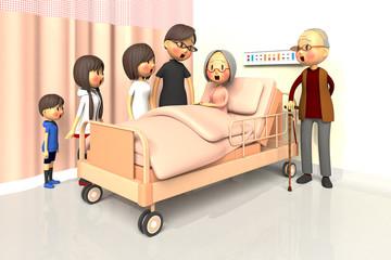 入院している老婦人とお見舞いする家族