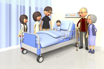 入院している少年とお見舞いする家族