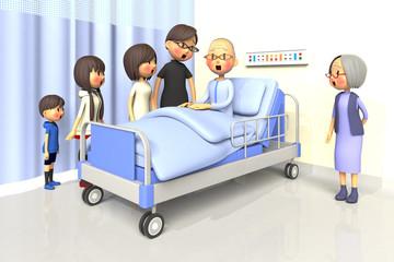 入院している老人とお見舞いする家族