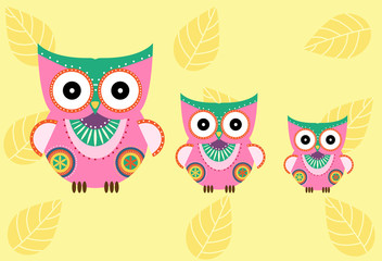 Set of cartoon owls on yellow background ,Vector illustrations