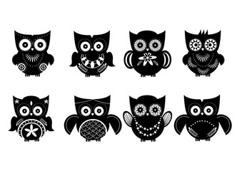 Silhouette owl set,Vector illustrations