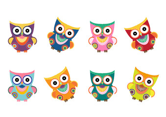 Owls on branch at day,Design for cards