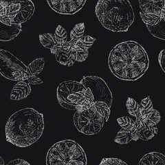 Seamless pattern with chalk lime and mint on blackboard background