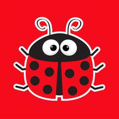 Cute cartoon lady bug sticker icon. Red background. Baby illustration. Flat design.