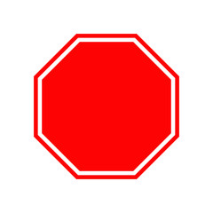 Blank stop traffic warning road sign. Prohibition no symbol. Template Isolated on white background. Flat design