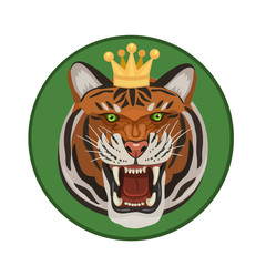 tiger with crown roars/ Tiger with a crown on his head, the strength of his body makes him the king of the forest, and taiga, he growls and shows his teeth