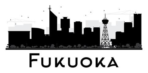 Fukuoka City skyline black and white silhouette.