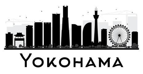 Yokohama City skyline black and white silhouette.