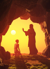 Jesus  in the cave.